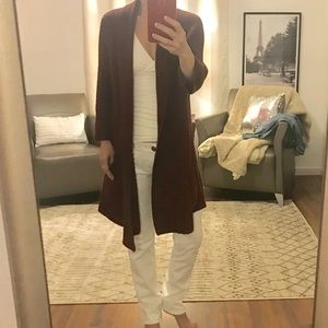 Lucky Brand Maroon Open Long Sleeved Cardigan S
